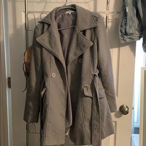 Gray long pea coat jacket